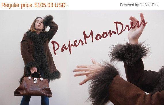 Penny Lane Afghan Coat Sheepskin Coat Vintage by PaperMoonDress