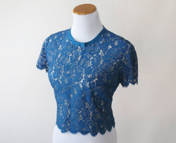 50s Blue Lace Blouse Cropped Top Royal Blue Bow Womens Large ...