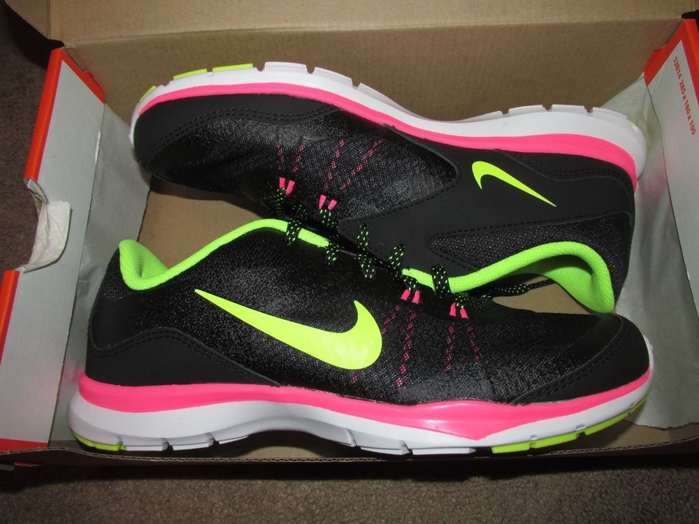 efc5b7d461e4 Nike Flex Trainer 5 Womens Running Shoes 7 Black Volt Pink Pow 724858 006   Nike  RunningCrossTraining