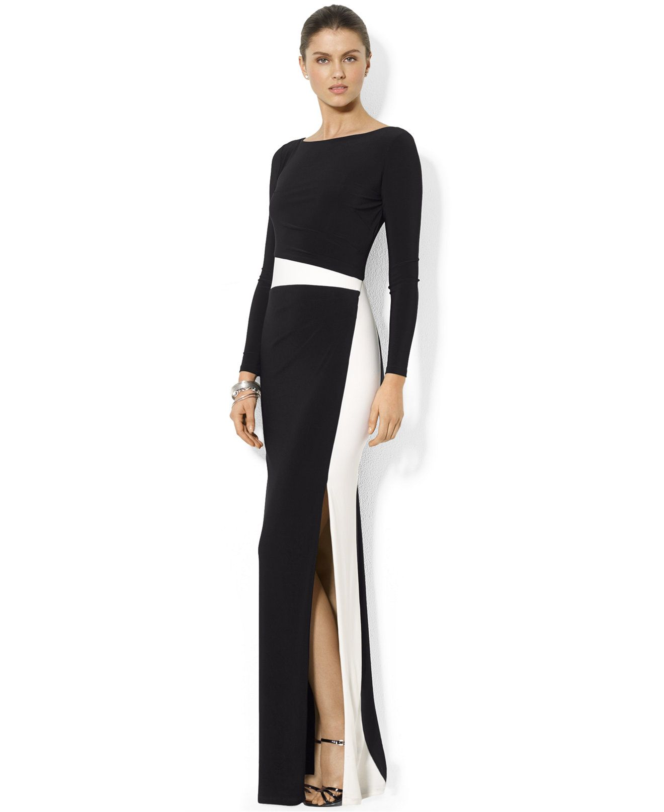 Lauren Ralph Lauren Long-Sleeve Colorblocked Gown - Dresses - Women ...