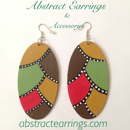 Handpainted Abstract Adinkra Symbol Wooden Earrings