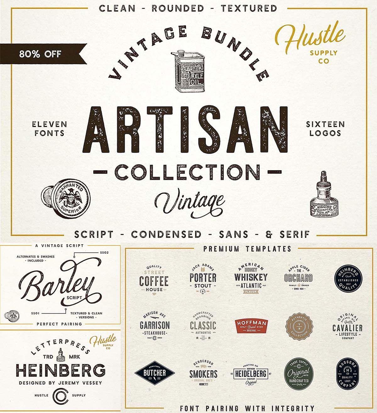 The Artisan collection font bundle Fonts, Logo templates