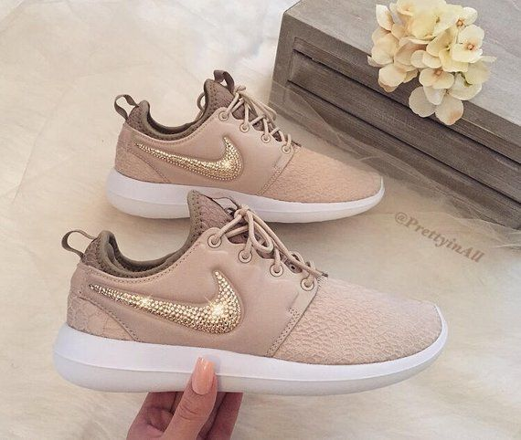 Bling Nike Roshe Two SE Oatmeal Shoes with Rose Gold Swarovski Crystals #howtoapplybling
