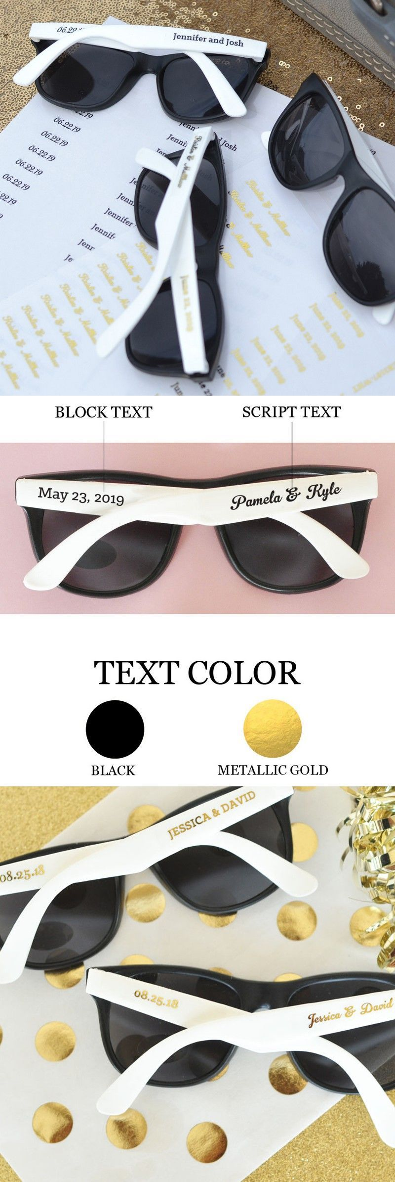 Personalized White Frame Wedding Sunglasses Favors | Outdoor wedding ...