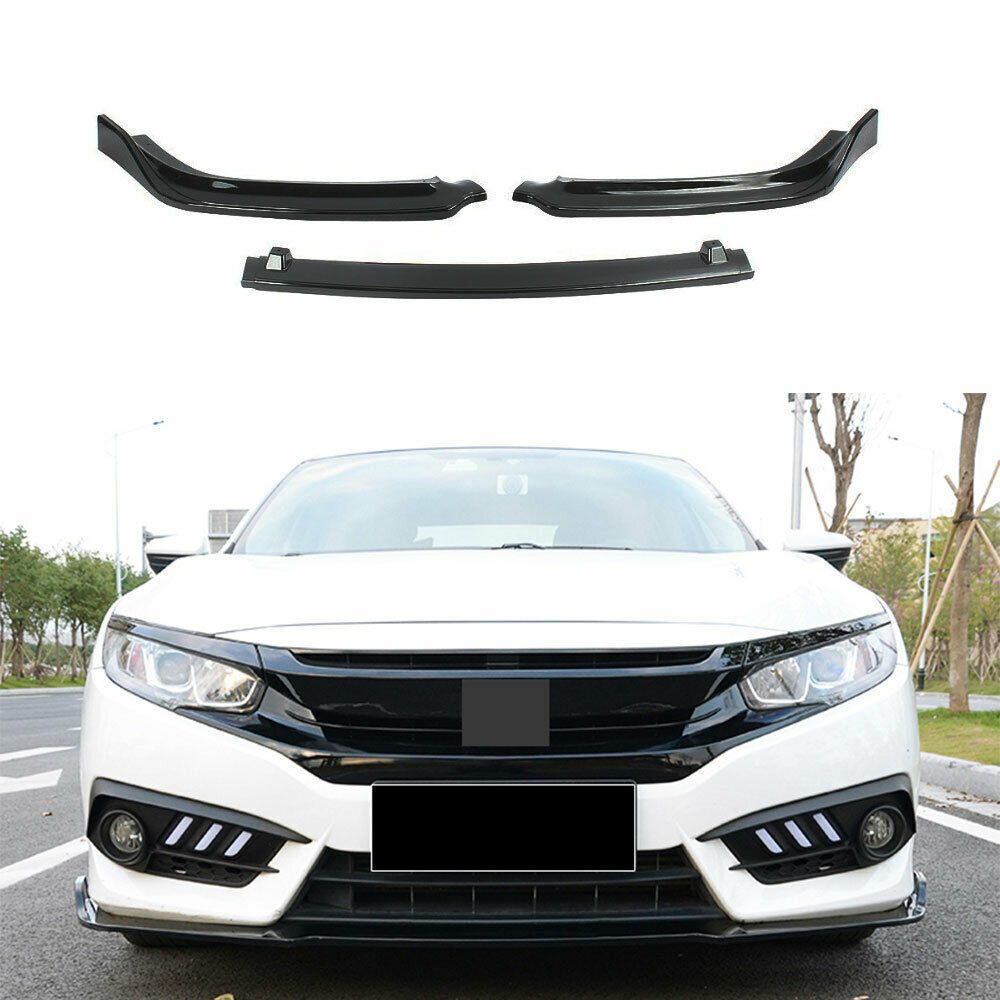 Bright Black Front Bumper 3 Stage Lip Spoiler Fit For Honda Civic Mk10 Sedan Honda Civic Civic Honda