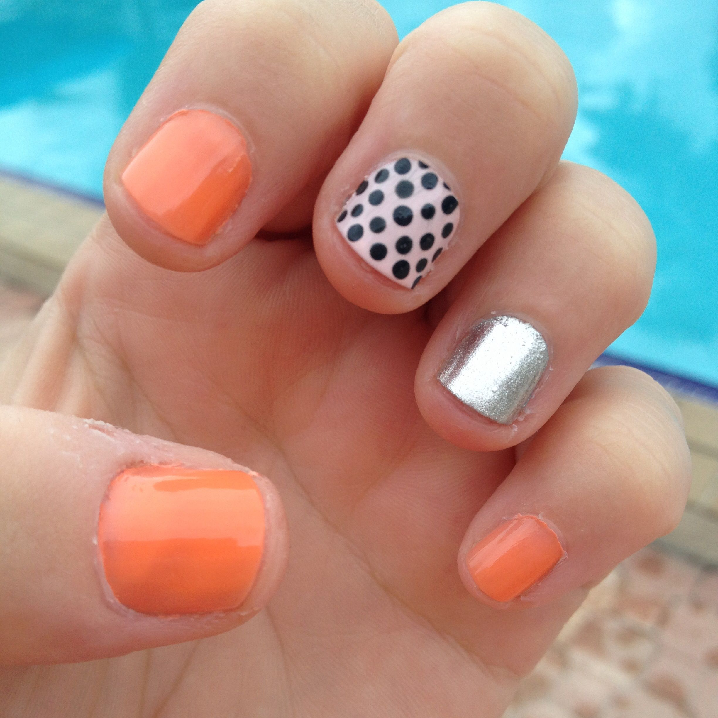 easy nail art design for short nails. summer. dotting tool. essie serial shopper. accent nails romper room, and mind your mittens. revlon silver dollar.