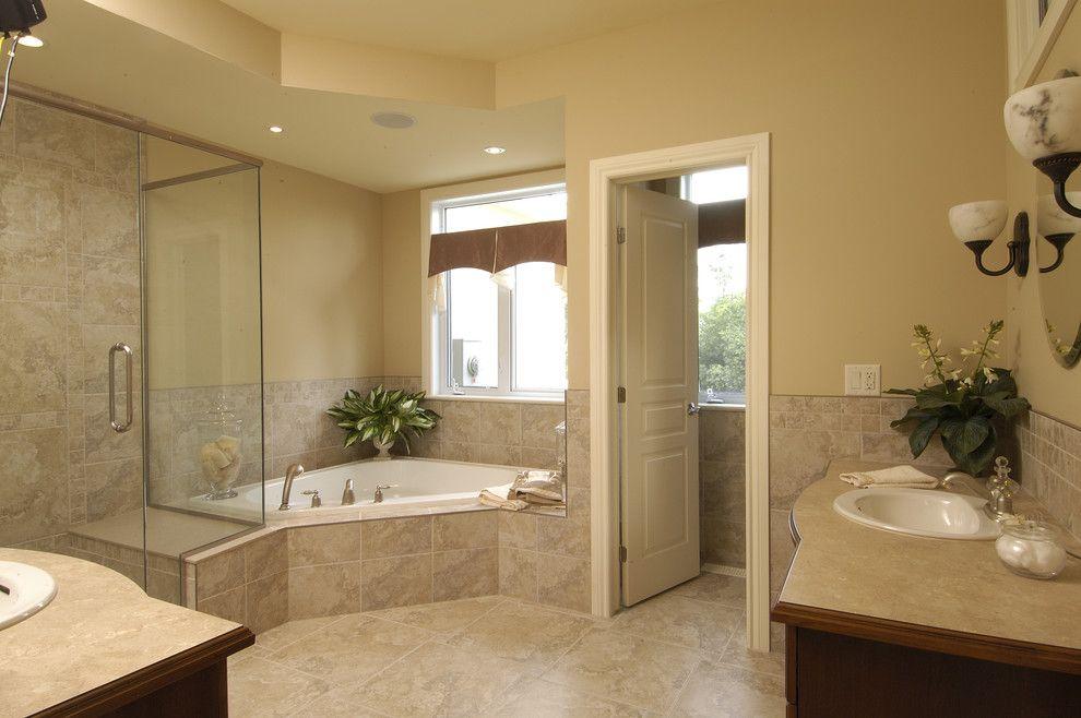 Corner Tub Shower Combo Bathroom Traditional With Bungalow Corner Tub Custom