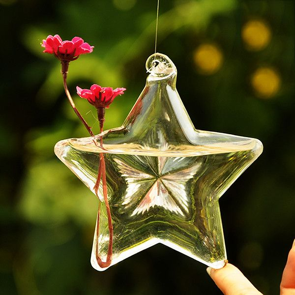 Glass Flower Vases, Star Shaped