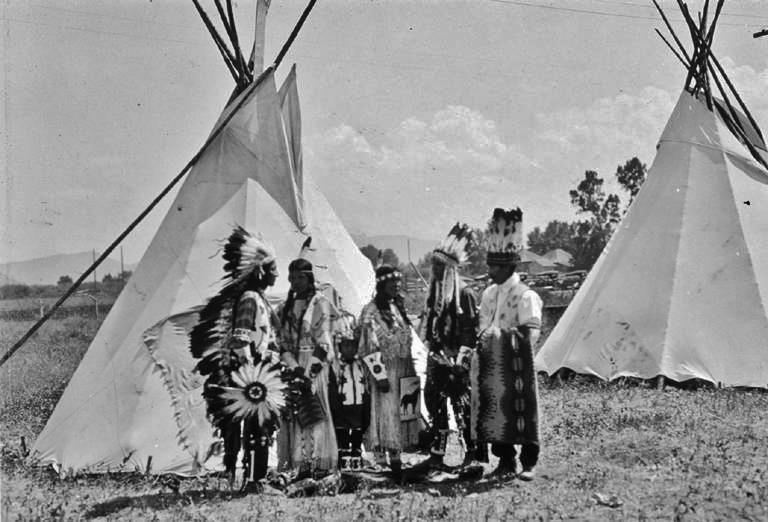 L-R: Michell Keyser, Catherine Pichette, unknown, unknown, Charlie Gabe, unknown - Flathead - circa 1920