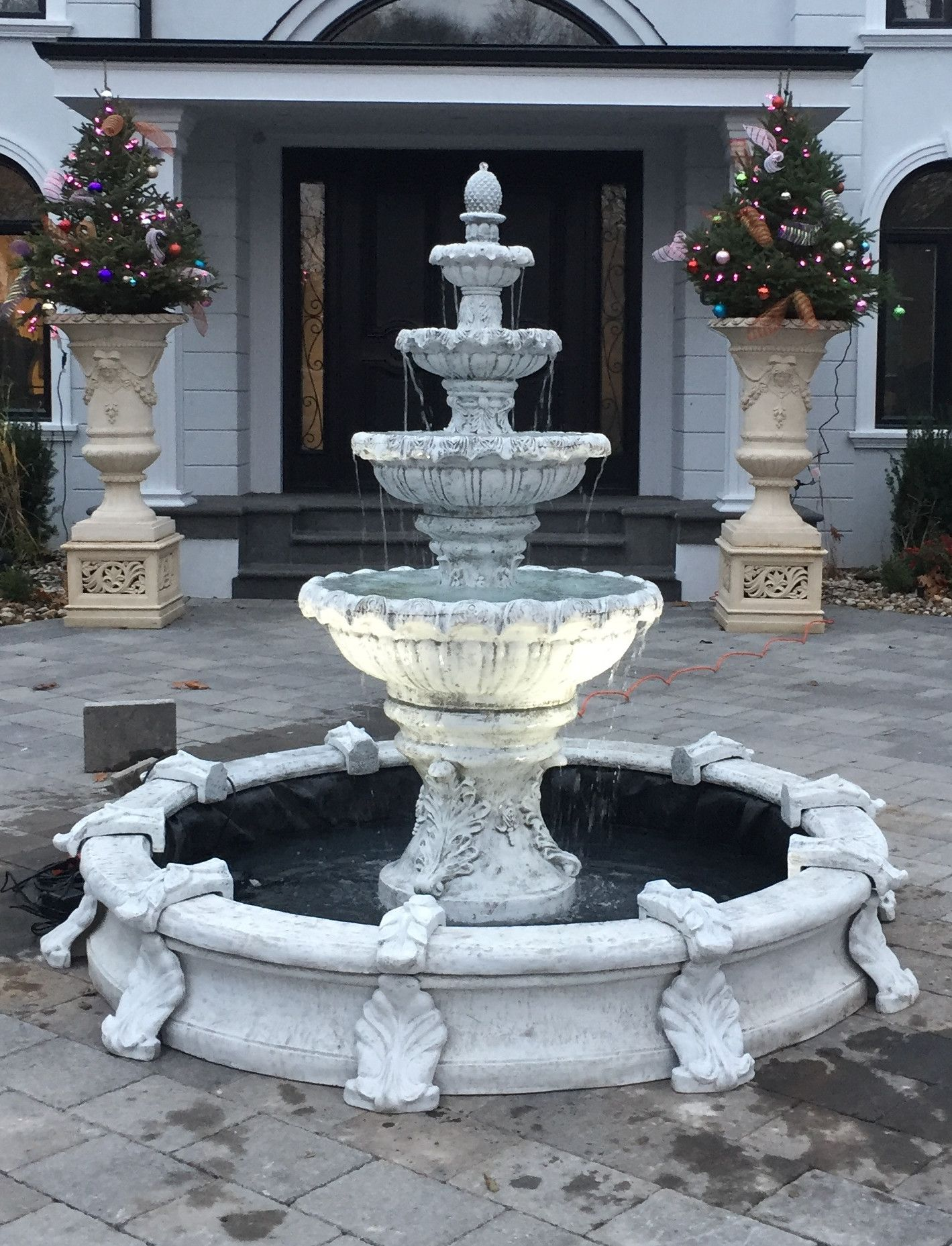 4 Tier Fleur Fountain In Basin Garden Water Fountains Yard Water Fountains Water Fountain Design
