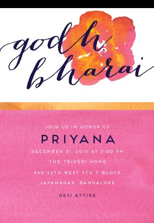 Golden Godh Bharai Baby Shower Invitation For Inks Edge