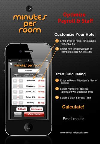 Minutes Per Room Task Time Calculator For Hotels Room Attendant Hotel Hotel Marketing