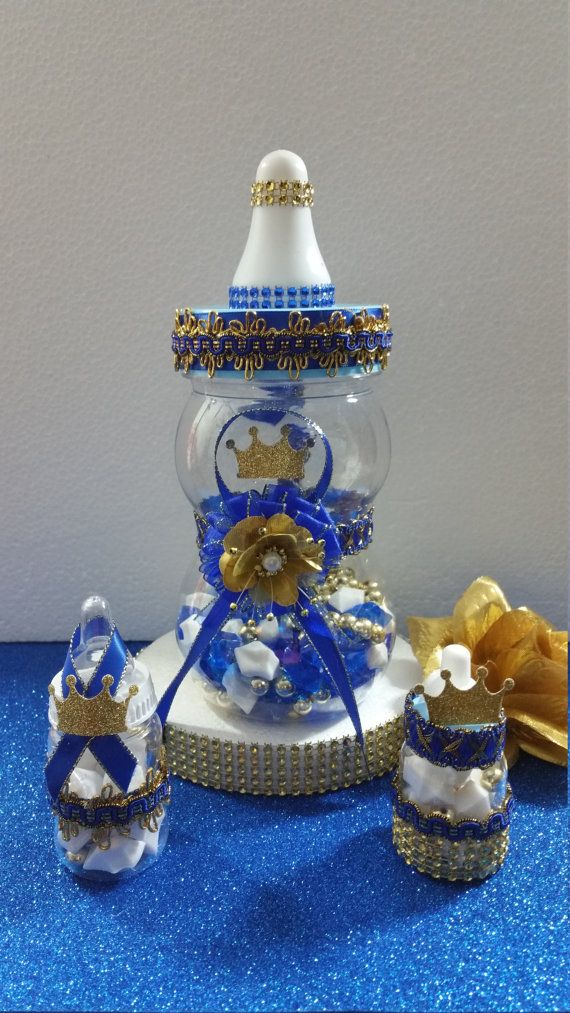 Baby shower centerpiece for royal prince by for Baby bottle decoration
