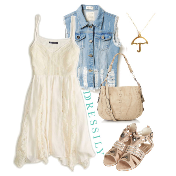 Make a feminine frock more edgy and fun by throwing on a denim vest. Mixing textures will up that cool factor. dressi.ly #summer #casual #chic #streetstyle