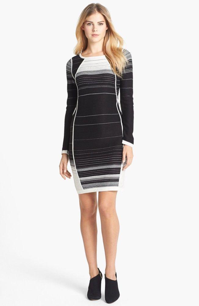 fe60757a19c05 NWT IVANKA TRUMP STRIPED SWEATER DRESS M #IvankaTrump #Dress ...