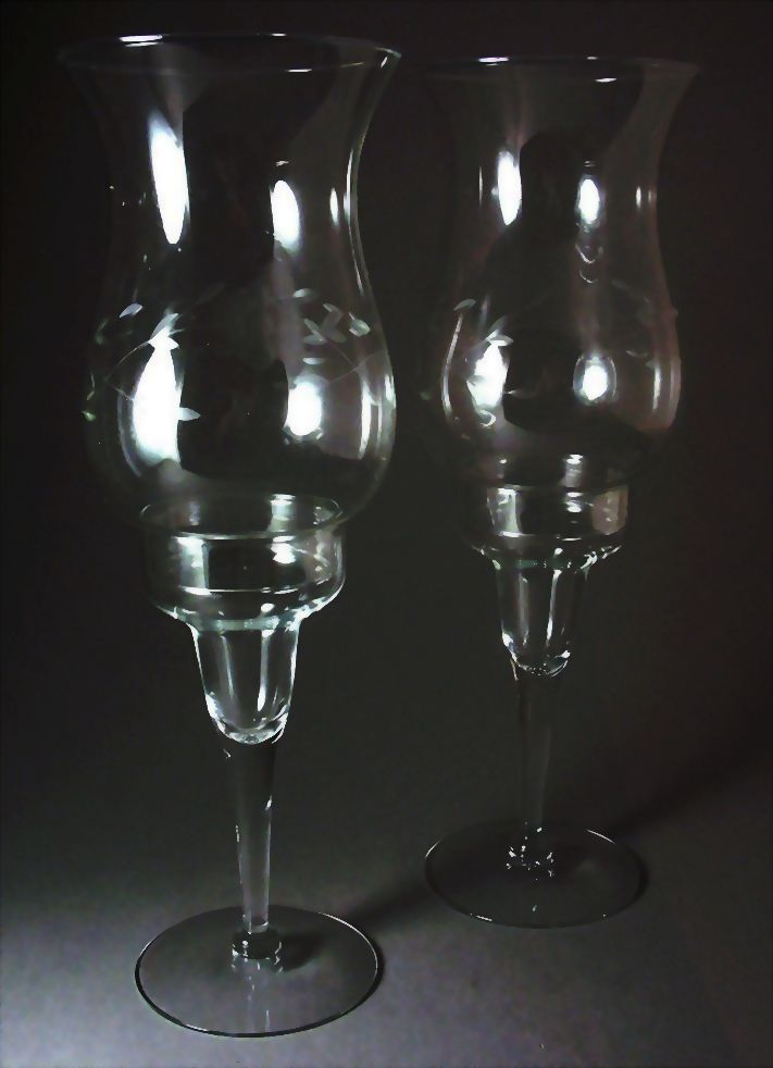 Princess House Crystal Hand Blown Hurricane Candle Holders