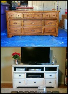 A Dresser Turned Into A Modern Entertainment Center/television Stand!