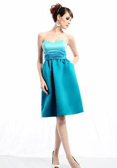 Sweetheart A line Satin With Ruching Knee Length Bridesmaid Gowns