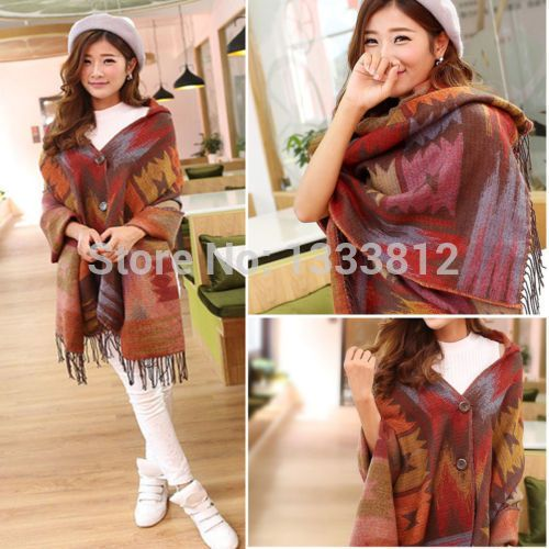 Free Shipping Women Pashmina Fashion Oversized Cardigan Tribal Pattern Poncho Cape Shawl Scarf Coat