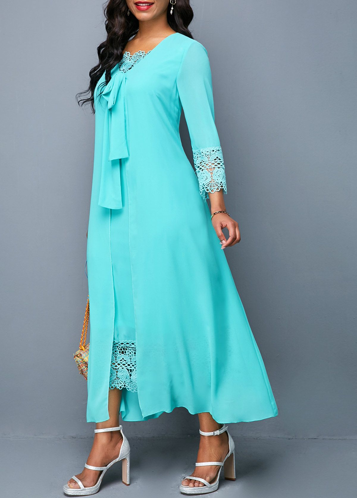 94a47a28aa Lace Panel Tie Front Cyan Dress