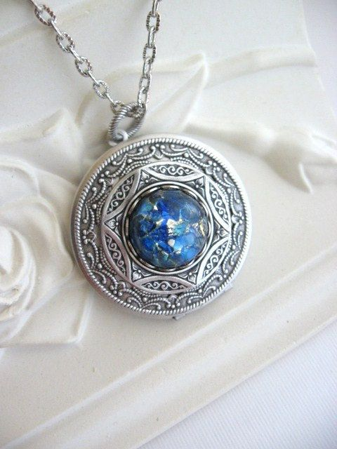 opal antique vintage for style lockets brass pin gifts secret locket necklace