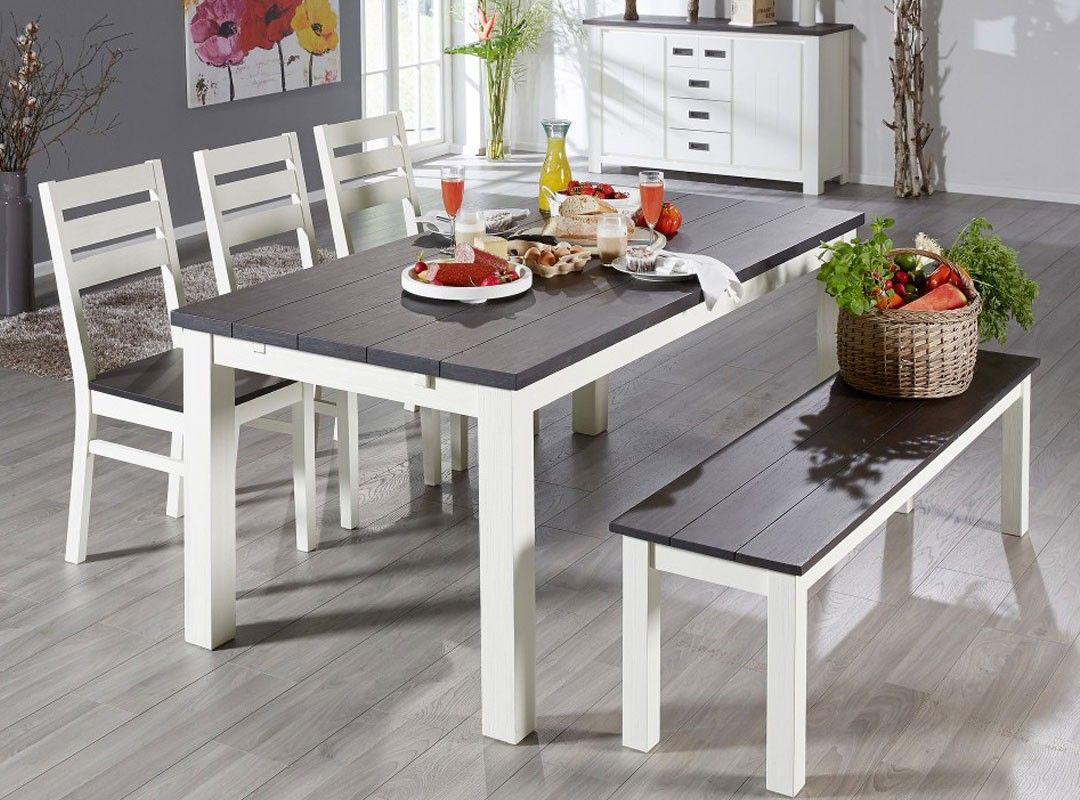 Grey And White Table With Chairs Bench Jysk