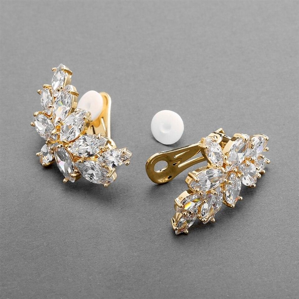 1 Pair Luxury Flower CZ Cluster Wedding Stud Earrings for Brides Bridesmaid