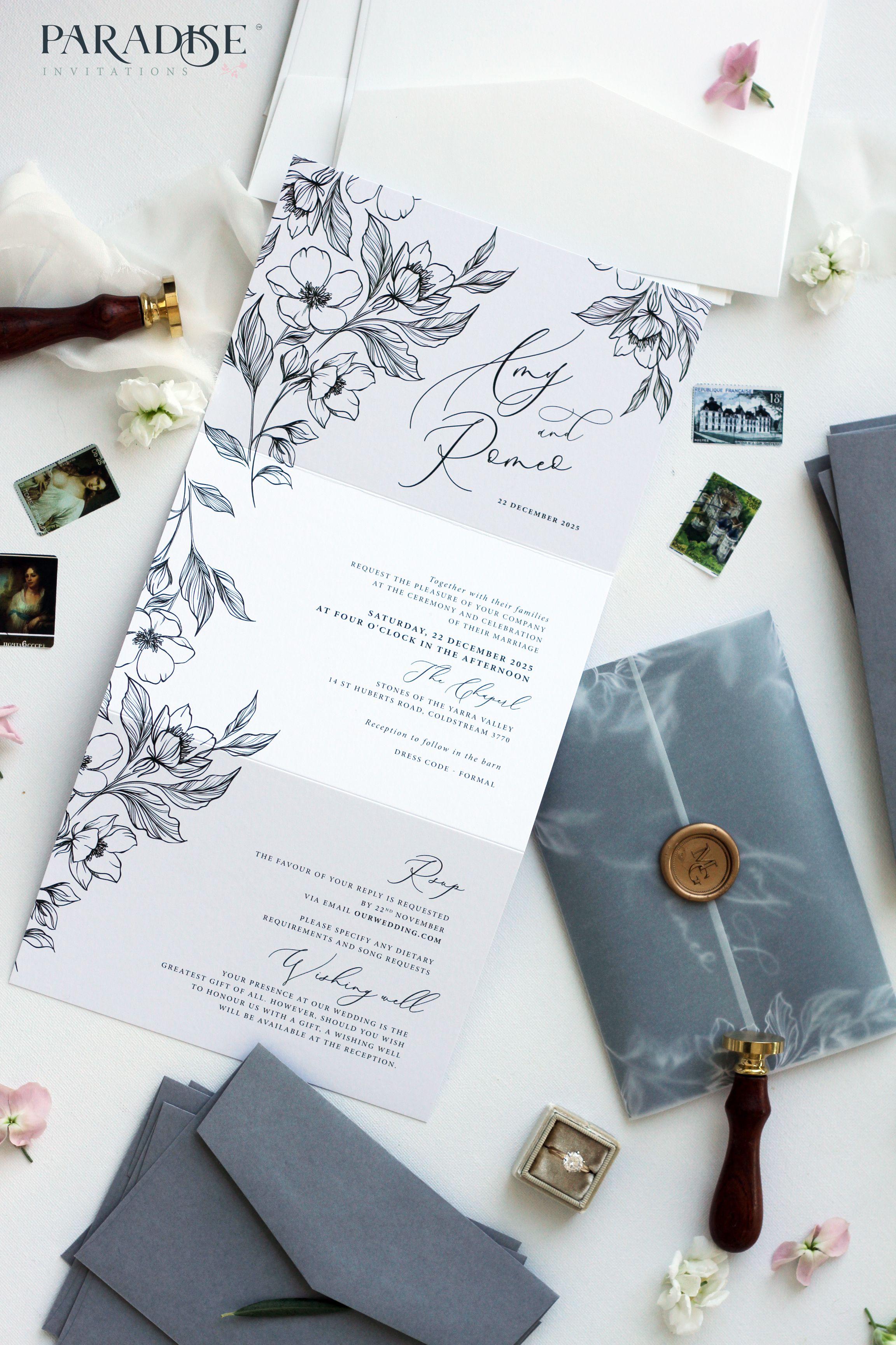 Anne Cecile Hand Drawn Floral Tri Fold Wedding Invitation Svadebnye Priglasheniya Otkrytki Priglashenie Na Svadbu