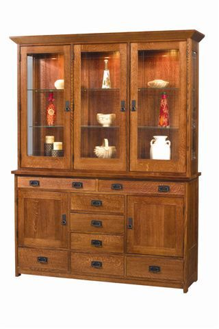 Amish Craftsman Mission Hutch China Cabinet 3956