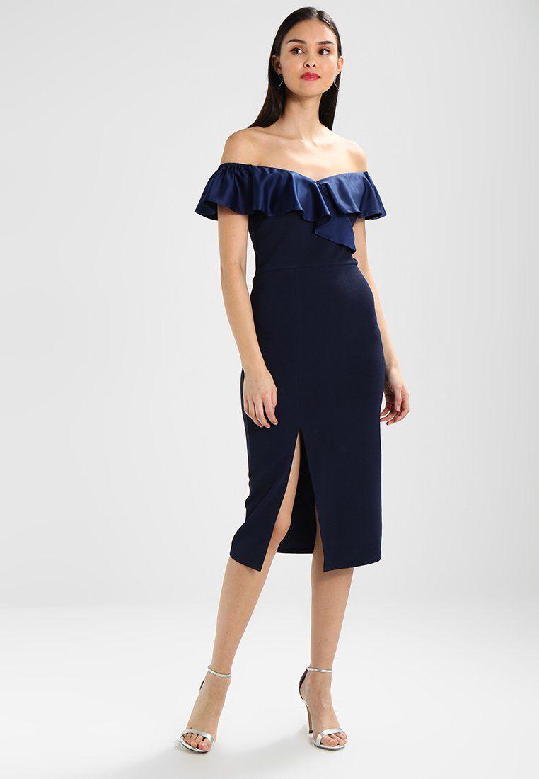 ee1452b24ffa OFF SHOULDER FRILL DRESS WITH SPLIT - Sukienka koktajlowa