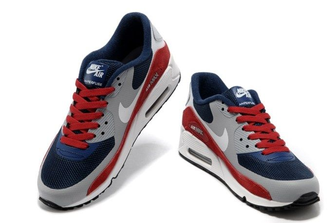 bcaf963a8578 Nike Air Max 90 Hyperfuse Men Shoes Blue Red Grey Online