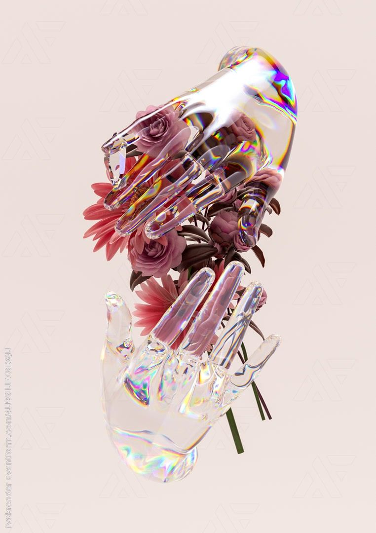 Flowers held by two transparent hands. by AvantForm Contributor fvckrender #3d #3dart #cgi #digitalart #digitalartist #design #illustration