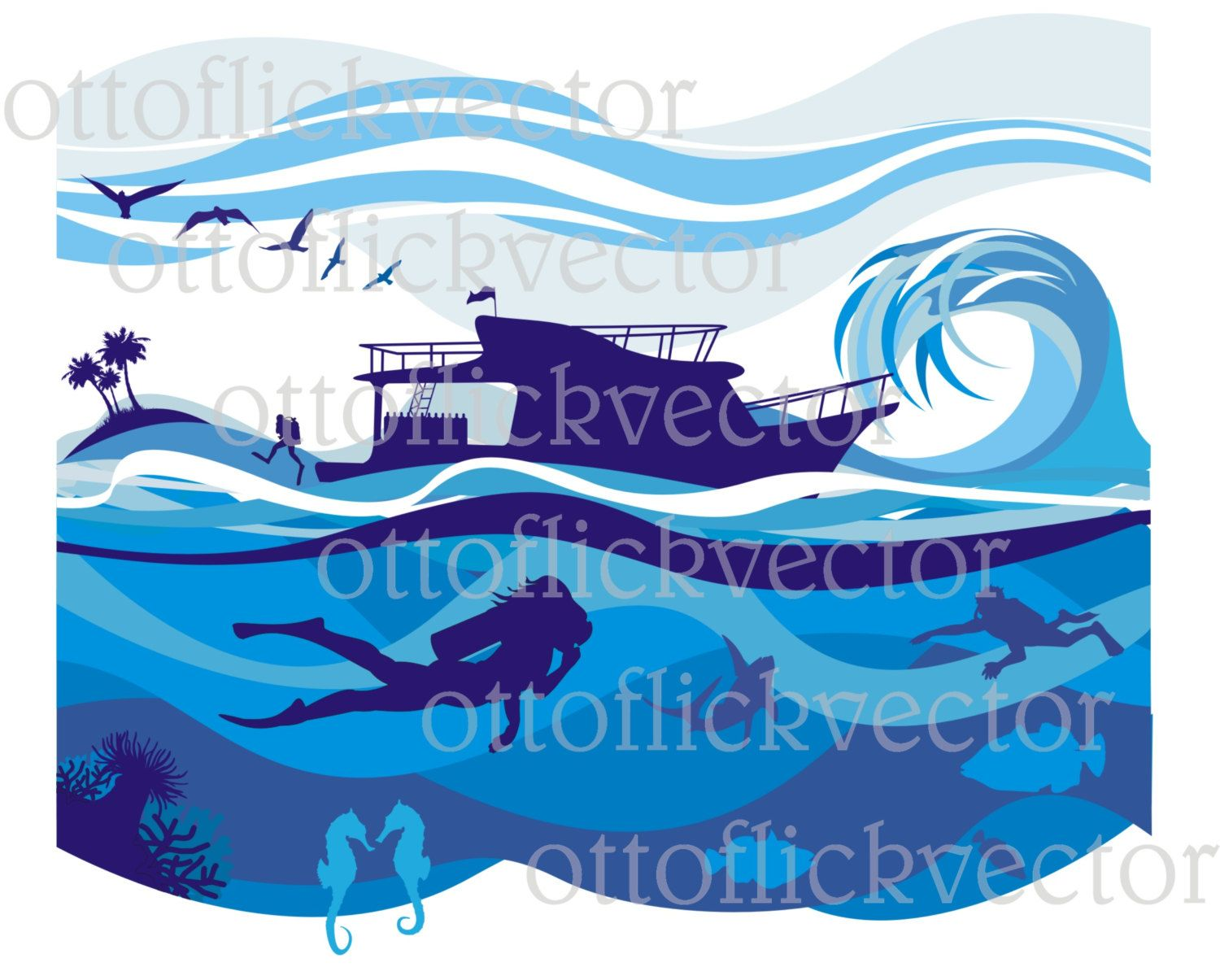 VACATION VECTOR CLIPART, water sport, leisure background and banner eps, ai, cdr, png, jpg, deep sea diving, tropical resort, marine life by ottoflickvector on Etsy