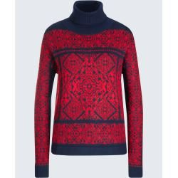 Photo of Pullover mit Alpaka in Rot-Blau gemustert windsor