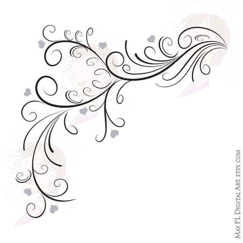Swirl Border Png Vector Clipart Easily Insert These Digital Etsy Clip Art Vintage Swirly Designs Clip Art