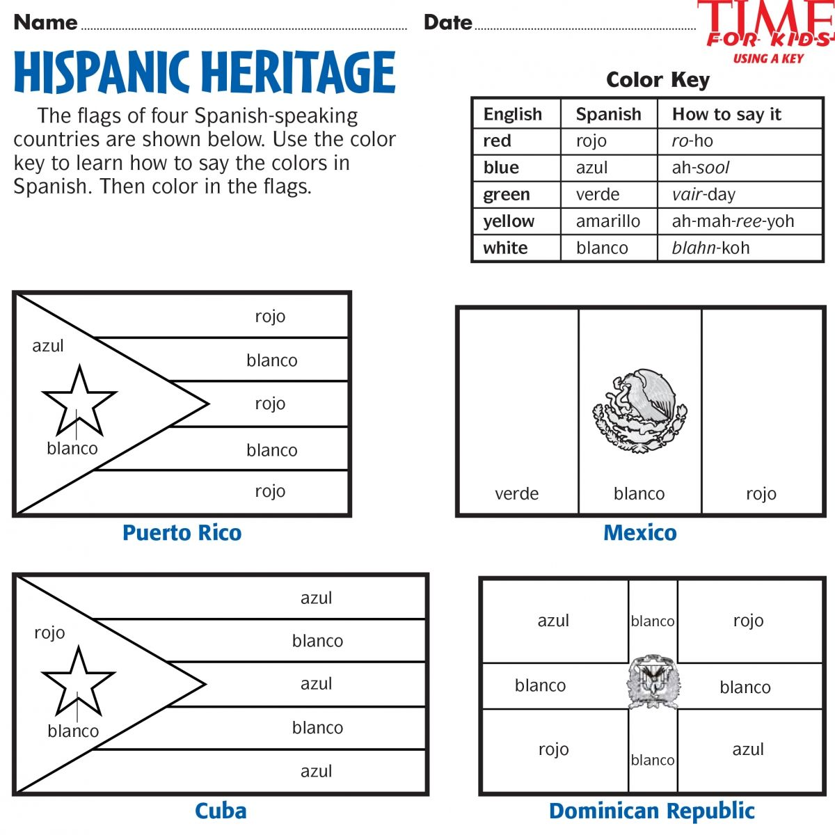 Printables for hispanic heritage month time for kids