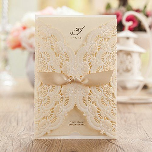 Wishmade 100x Ivory Laser Cut Wedding Invitation Cardstock With Lace And  Hollow Flowers Card Stock For