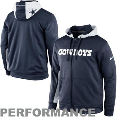 Nike Dallas Cowboys KO Full Zip Performance Hoodie - Navy Blue ... db0fed3c1