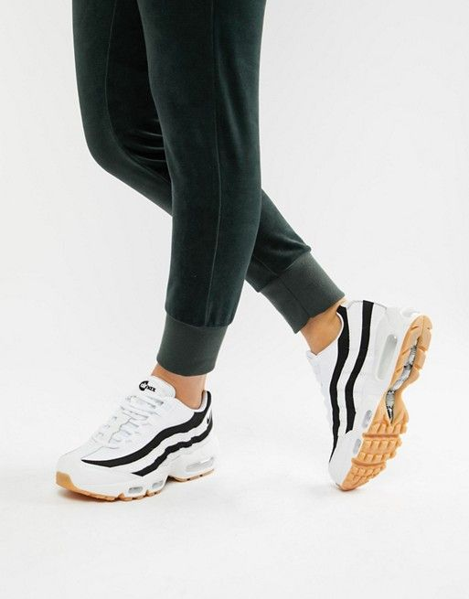 Nike White With Black Accent Air Max 95 Trainers SKO  SHOES
