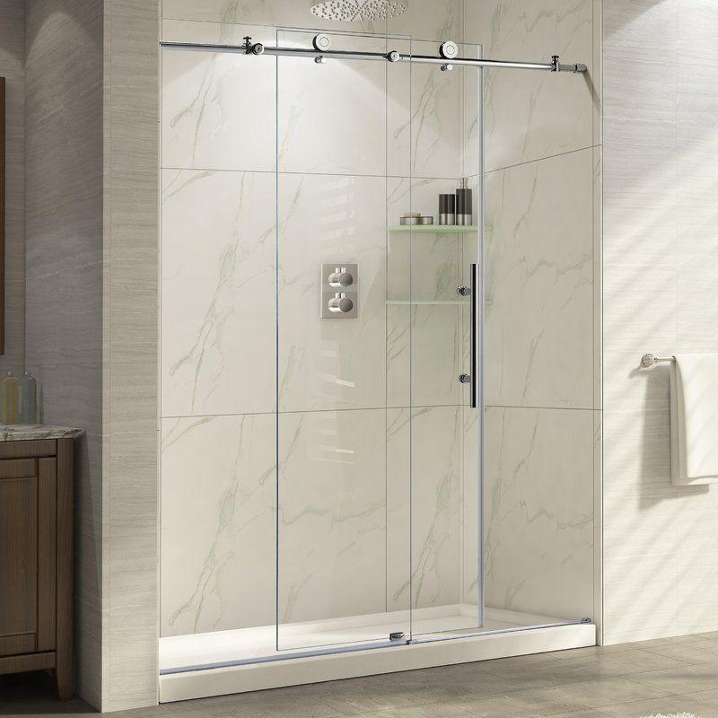 Trident 48 X 76 Single Sliding Frameless Shower Door With