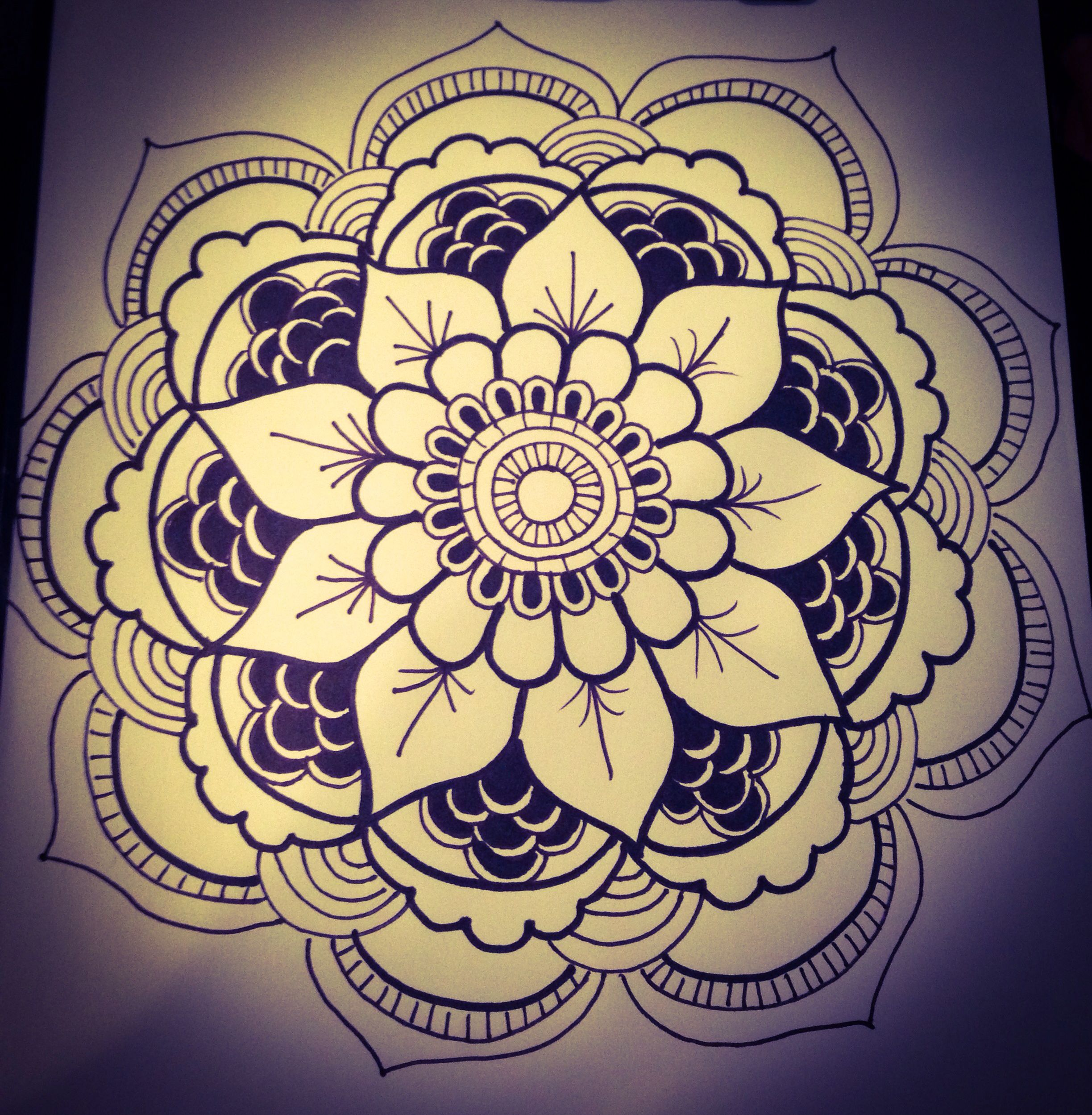 My first ever Mandala drawing. Not too shabby.