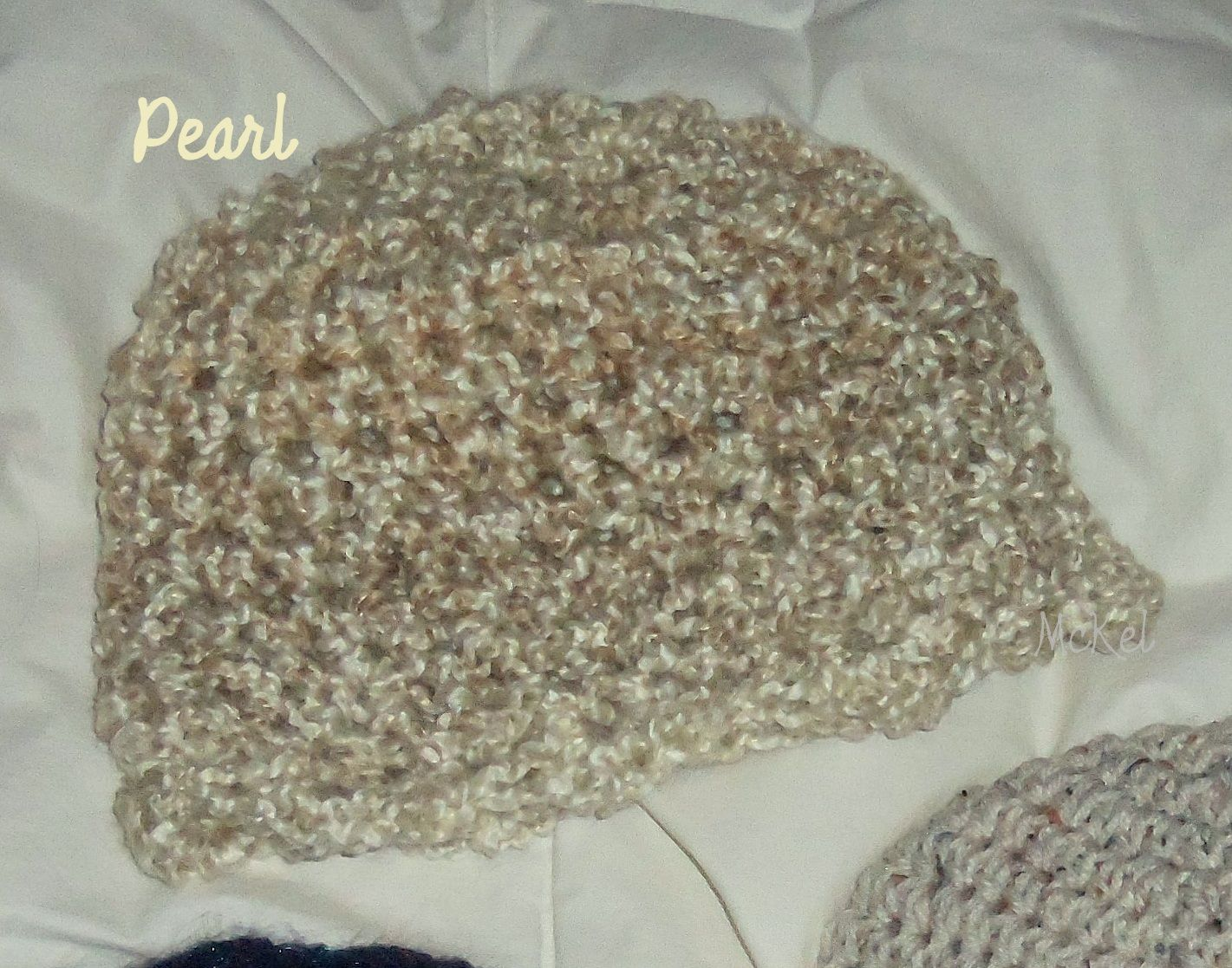'Pearl' coloring, soft, slightly bulky, adult large  ladies beanie with scalloped edging