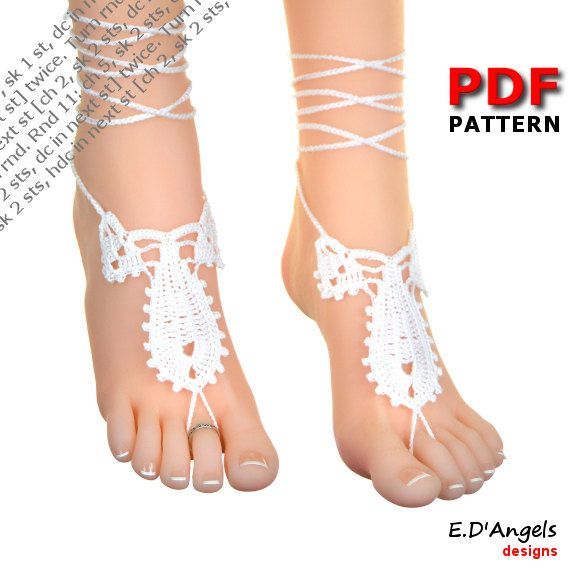 Barefoot Sandals Crochet Pattern Barefoot Wedding Leaf