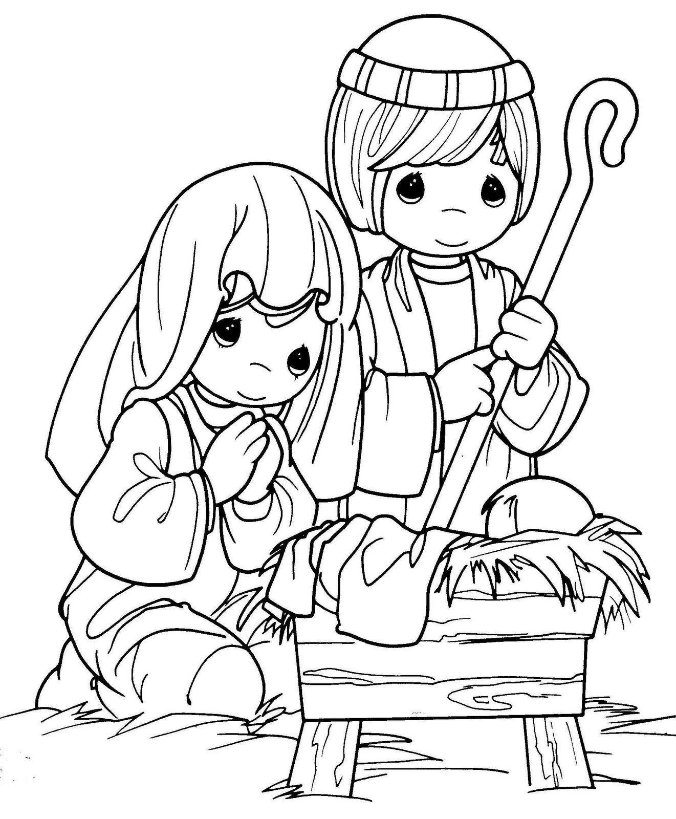 Precious Moments Nativity  Nativity coloring pages, Precious