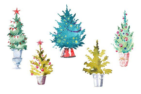 Watercolor Set Of 5 Christmas Trees By Masha Gross On