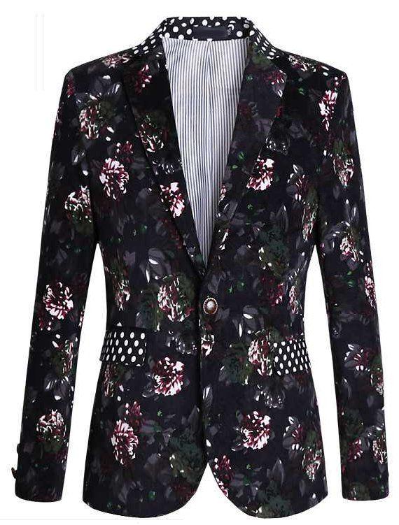 Sleek Gentlemen Floral Blazer With Polka Dot Collar