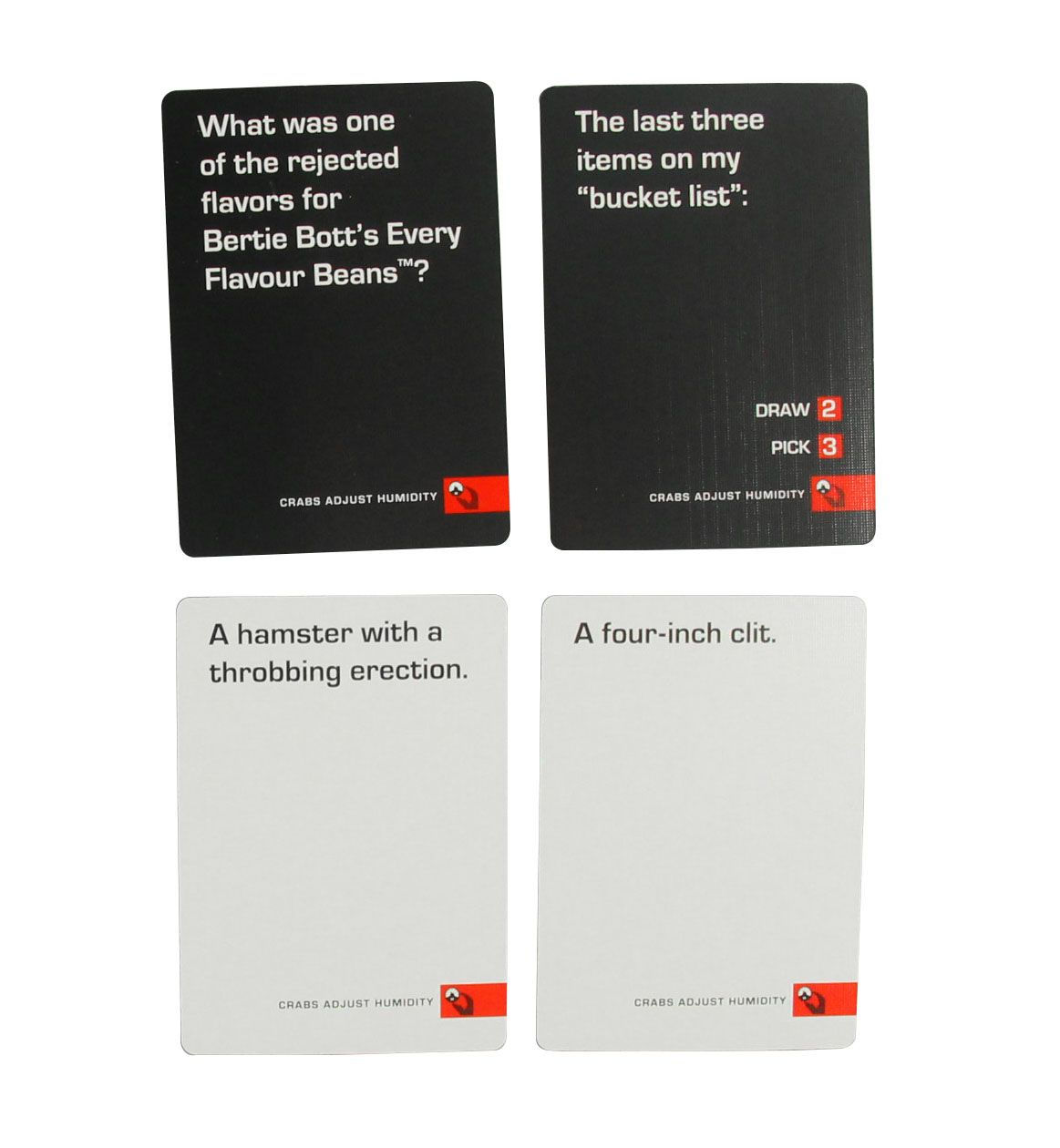 crabs adjust humidity,Great card expansions to really spice up cards against humanity. These are much more explicit and vulgar but that's what makes things interesting!