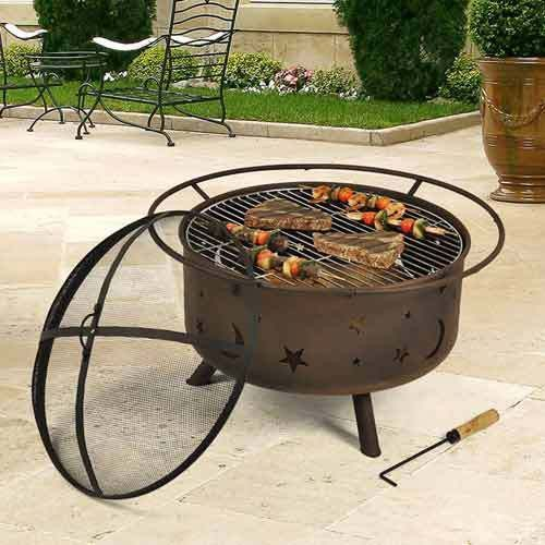 2 In 1 Winter Party Metal Cover Hard Design Cosmic Fire Pit With Cooking  Grill Features:   Measures 29.5 X 29.5 X 20 Inches Overall Including Outsiu2026
