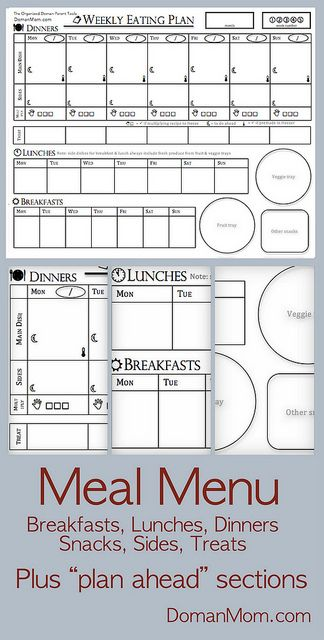 free weekly menu planning form that includes breakfasts lunches