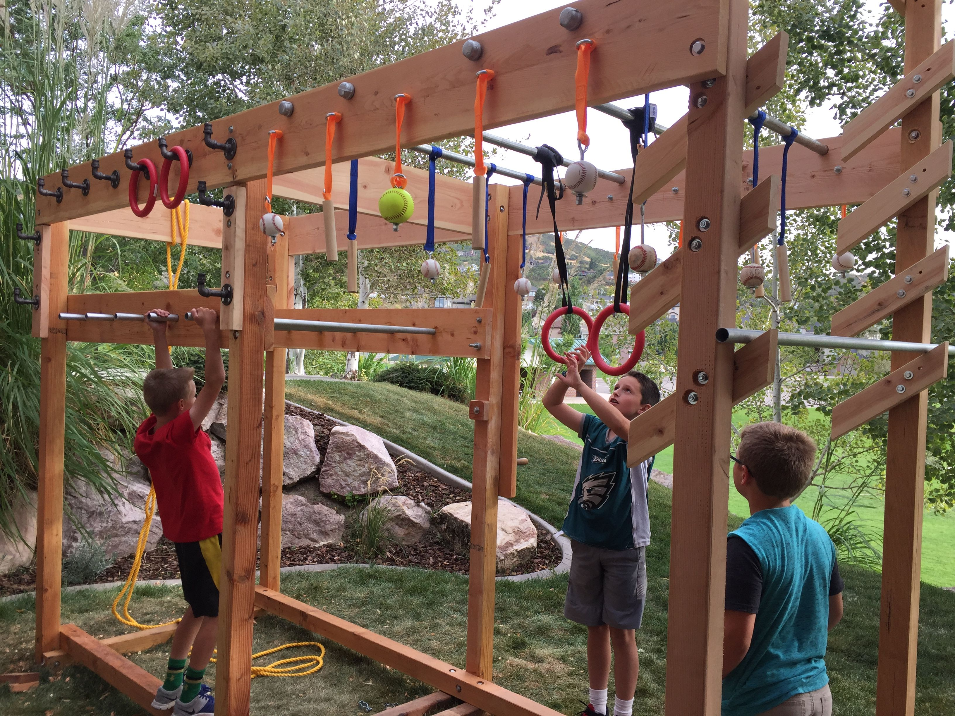 Ninja Warrior Training Course I Made For The Kids And Myself In Our Back Yard It Has A Pe Kids Obstacle Course Backyard Obstacle Course Backyard Playground